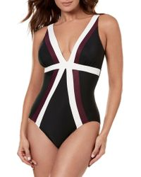 adcac43f133e2 Miraclesuit Miraclesuit 'spectra' Banded Maillot in Blue - Lyst