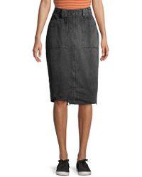 Free People Elisa Denim Pencil Skirt - Black