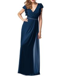Dessy Collection - Full Length Lux Shimmer Chiffon Dress - Lyst