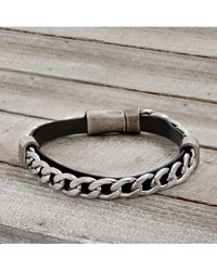 Lord + Taylor Stainless Steel & Vegan Leather Square Rondel Curb Chain Bracelet - Black