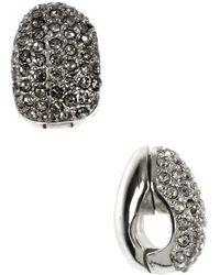 Anne Klein - Silvertone Pave Crystal Clip-on Earrings - Lyst