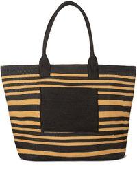 Bay Sky Stripe Tote Bag - Black