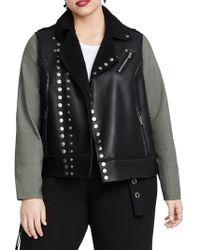 02002cc79b Lyst - Calvin Klein Plus Size Faux-leather-front Moto Jacket in Black