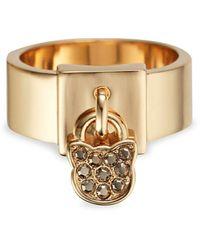 Karl Lagerfeld Klassic Goldplated & Swarovski Crystal Choupette Lock Ring - Metallic