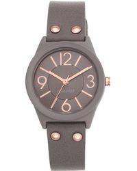 Nine West Arabic And Bar Indicies Sunray Dial Watch- Nw-1932tprg - Metallic