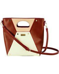 Bay Sky Colorblock Top Handle Tote Bag - Brown