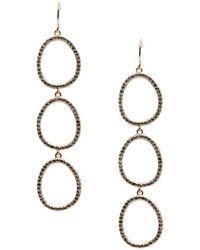 Sole Society - Goldtone & Hematite Triple Hoop Drop Earrings - Lyst