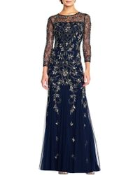 Adrianna Papell - Embellished Roundneck Gown - Lyst