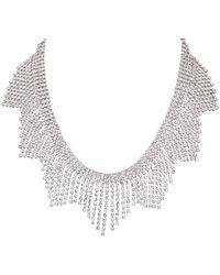 Nina Aliyah Crystal Fringed Bib Necklace - Metallic