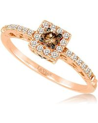 Le Vian - 14k Strawberry Gold Vanilla Diamonds And Chocolate Diamonds Chocolatier? Square Ring - Lyst