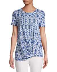 Lord + Taylor Twisted-front Printed Tee - Blue