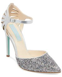 Betsey Johnson - Avery Shimmering Ankle Strap Court Shoes - Lyst