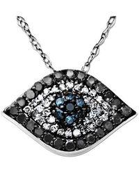 Lord + Taylor 14k White Gold & Diamond Evil Eye Pendant Necklace - Black