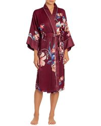 In Bloom - Lenox Shimmer Floral Satin Robe - Lyst