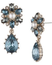 Marchesa Faux Pearl And Crystal Floral Drop Earrings - Metallic
