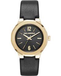 Karl Lagerfeld - Joleigh Goldtone Three-hand Leather Strap Watch - Lyst