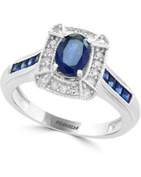 Effy Diamond And Silver Ring - Blue