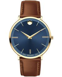 Movado - Ultra Slim Stainless Steel And Leather-strap Watch - Lyst
