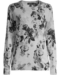 Lord + Taylor Petite Floral-print Merino Wool Jumper - Gray