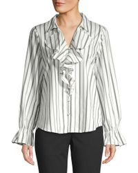 951f8c888395b2 Karl Lagerfeld Smudge-print Notch Collar Top in Pink - Lyst