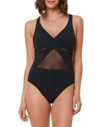 Bleu Rod Beattie - Don't Mesh With Me V-neck Mesh One-piece Swimsuit - Lyst