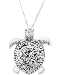 Lord + Taylor 925 Sterling Silver Beaded Turtle Pendant - Metallic