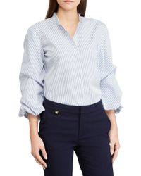 3fd26008bf2 Lauren By Ralph Lauren Plus Puffed-sleeve Cotton Button-down Shirt ...