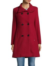 Ellen Tracy Double-breasted Coat - Red