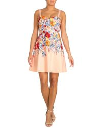 Guess Floral Sweetheart Fit-&-flare Dress - Pink