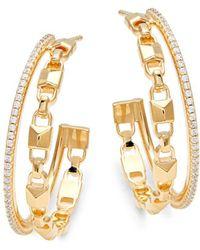 Michael Kors Mercer Sterling Silver & Crystal Double Row Hoop Earrings