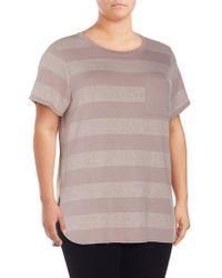 Calvin Klein - Plus Striped Short Sleeve Top - Lyst