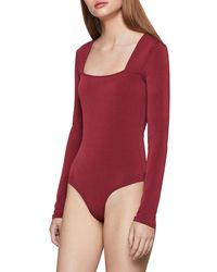 BCBGeneration Square-neck Bodysuit - Red