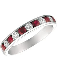 Morris & David - Ruby And Diamond 14k White Gold Ring - Lyst