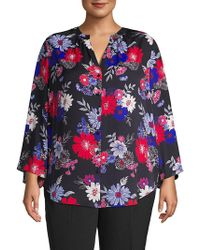 Lord + Taylor - Plus Long-sleeve Floral-print Blouse - Lyst