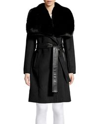 Via Spiga Faux Fur Collar Belted Coat - Black