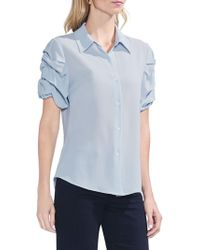 Vince Camuto - Textured Novelty Shirting Puffed Statement Shoulder Button Front Blouse - Lyst