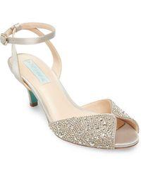 Betsey Johnson Royal Embellished Satin Ankle-strap Sandals - Metallic