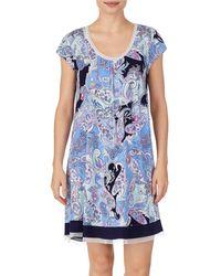Ellen Tracy Knit Chemise Nightgown - Blue