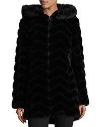 Gallery - Chevron Faux Fur Hooded Coat - Lyst