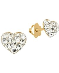 Lord + Taylor - Crystal And 14k Yellow Gold Heart Stud Earrings - Lyst
