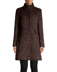 Via Spiga Leopard Printed Wool-blend Coat - Brown
