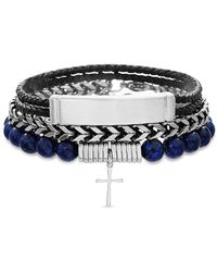 Lord + Taylor 3-piece Stainless Steel & Vegan Leather Beaded Bracelet Set - Metallic