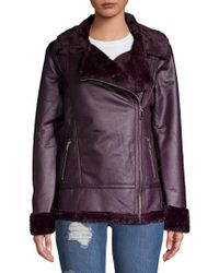 Dorothy Perkins - Faux Fur Trim Moto Jacket - Lyst