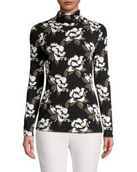 Lord + Taylor Petite Floral-print Turtleneck Top - Black