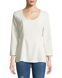 Isaac Mizrahi New York - Quarter-sleeve Hi-lo Top - Lyst