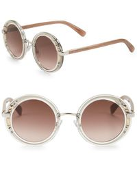 Jimmy Choo 50mm Embellished Round Sunglasses - Multicolour