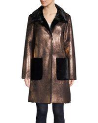 Ellen Tracy Metallic Sherpa Coat