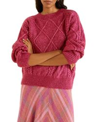 Mango Textured Knit Sweater - Pink