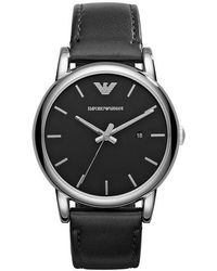 Emporio Armani Round Stainless Steel Watch - Black