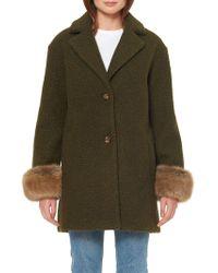 de27ea7bfd23 Ellen Tracy Belted Fox Fur-Collar Wrap Coat in Black - Lyst